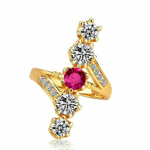 18k Yellow Gold Plated Round Cut Ruby Ring